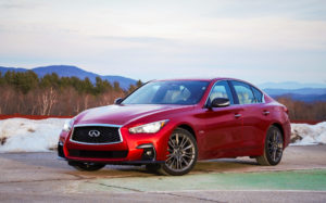2020 Infiniti Q50 red parked