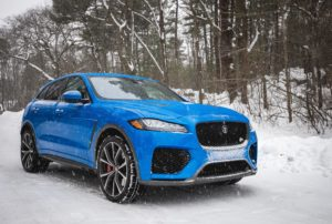 Blue Jaguar F-Pace SVR in snow
