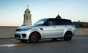 Range Rover Sport HST front silver parked
