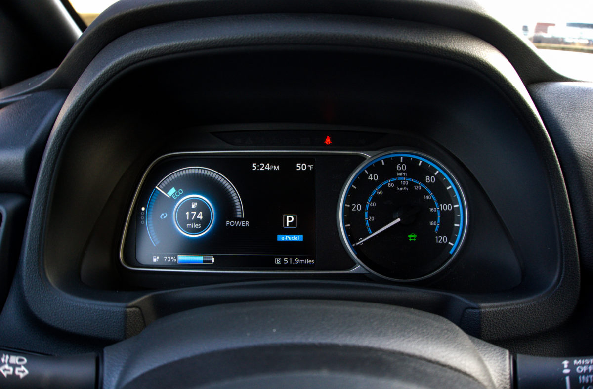 2020 Nissan Leaf SL Plus driver information display